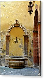 Sienna Fountain Courtyard Acrylic Print