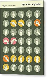 Sign Language Hand Alphabet -  Grey Version Acrylic Print