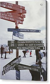 Signpost In St. Moritz Acrylic Print