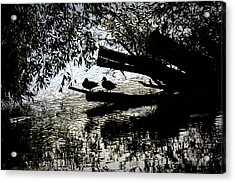 Acrylic Print featuring the photograph Silhouette Ducks #h9 by Leif Sohlman