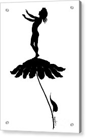 Silhouette Of A Girl Stood On Top Of A Flower Acrylic Print