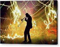 Silhouette Of A Trombone Player & Light Acrylic Print