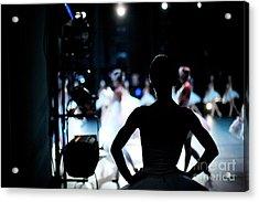 Silhouette Of Ballerina On Background Acrylic Print