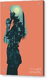 Silhouette Of Girl And Night Forest Acrylic Print