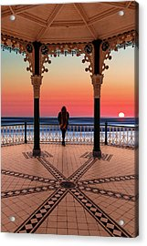 Silhouette Of Girl  On Brighton Bandstand Acrylic Print
