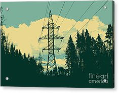 Silhouette Of High-voltage Tower Acrylic Print