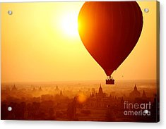 Silhouette Of Hot Air Balloon Over Acrylic Print