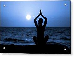 Silhouette Of Young Woman Doing Yoga Acrylic Print