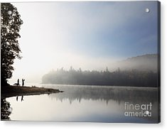 Silhouette. Relaxing Morning On Lake Acrylic Print