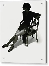 Silhouetted Woman On Chair Acrylic Print
