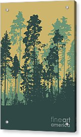 Silhouettes Of Coniferous Forest Acrylic Print