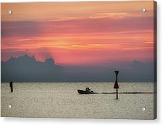 Acrylic Print featuring the photograph Silhouette's Sailing Into Sunset by Nathan Bush