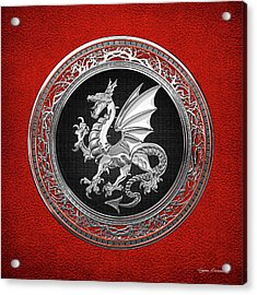 Silver Winged Norse Dragon - Icelandic Viking Landvaettir On Black And Silver Medallion Over Red  Acrylic Print