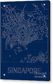 Singapore Blueprint City Map Acrylic Print