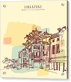 Singapore China Town Drawing. Vintage Acrylic Print
