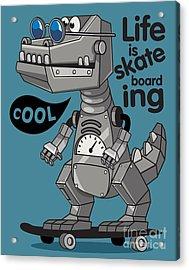 Skater, Robot Dino Vector Design Acrylic Print