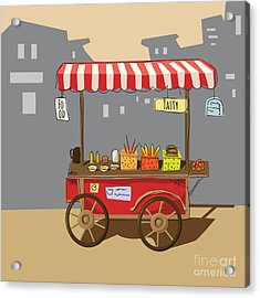 Sketch Of Street Food Carts, Cartoon Acrylic Print by Valeri Hadeev