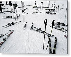 Ski Equipment On The Slopes At A Ski Acrylic Print