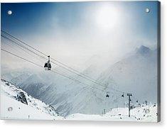 Ski Resort In The Winter Mountains Acrylic Print by Olga Gavrilova