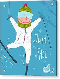 Skier Funny Free Rider Jump Fun Poster Acrylic Print