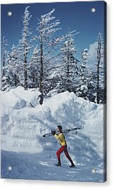 Skier In Vermont Acrylic Print by Slim Aarons