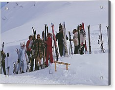 Skiers At Gstaad Acrylic Print by Slim Aarons