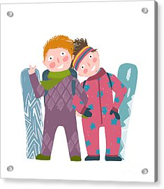 Skiing Sport Child Girl And Boy In Acrylic Print