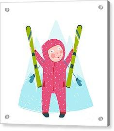 Skiing Sport Child Girl In Winter Acrylic Print