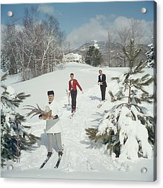 Skiing Waiters Acrylic Print