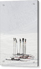 Skis And Ski Poles In Soelden, Tyrol Acrylic Print