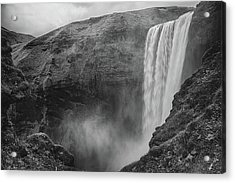 Acrylic Print featuring the photograph Skogafoss Iceland Black And White by Nathan Bush
