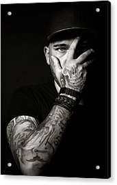 Skull Tattoo On Hand Covering Face Acrylic Print