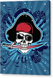 Skull With Pirates Hat, Eyepatch And Acrylic Print by New Vision Technologies Inc