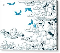 Sky Background, Clouds And Blue Birds Acrylic Print