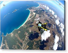 Skydive Wing Suit Over Brazilian Beach Acrylic Print by Rick Neves