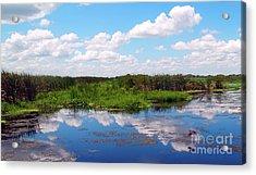 Skyscape Reflections Blue Cypress Marsh Near Vero Beach Florida C6 Acrylic Print
