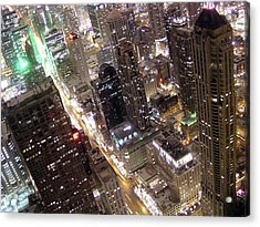 Skyscrapers Illuminated At Night Acrylic Print by By Ken Ilio