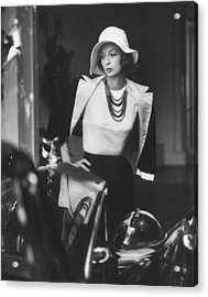 Slouch Hat In Garbo Tradition Made Of Wh Acrylic Print by Gordon Parks