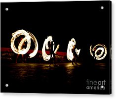 Slow Shutter Speed Of Fire Show Acrylic Print by The Sun Photo