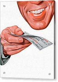 Smiling Man Holding Check Acrylic Print