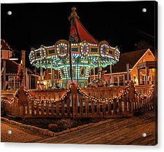 Acrylic Print featuring the photograph Smithville Carousel At Night by Kristia Adams