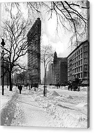 Snow At The Flatiron Building Acrylic Print