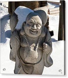 Snow Buddah Acrylic Print