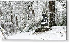 Snow Buddha Batsford Arboretum Acrylic Print by Tim Gainey