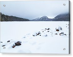 Snow Cover Jordan Pond Acrylic Print