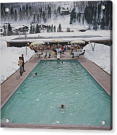 Snow Round The Pool Acrylic Print