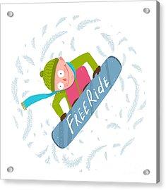 Snowboard Funky Free Rider Jump Fun Acrylic Print