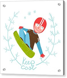 Snowboard Funky Free Rider Jumping Acrylic Print