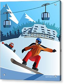 Snowboard Winter Resort Acrylic Print