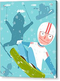 Snowboarding And Skiing Funny Free Acrylic Print